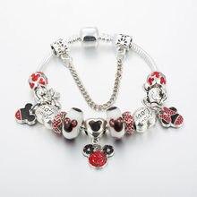 Annapaer minnie coração charme pulseira para jóias femininas diy mickey pingente caber pulseira original para presentes femininos b19003