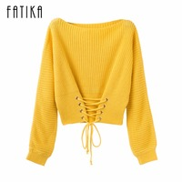 FATIKA 2017 Fashion Trend New Autumn Winter Fashion Women S Pullover Front Lace Up O Neck