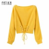 FATIKA 2017 Fashion Trend New Autumn Winter Fashion Women S Pullover Front Lace Up O Neck