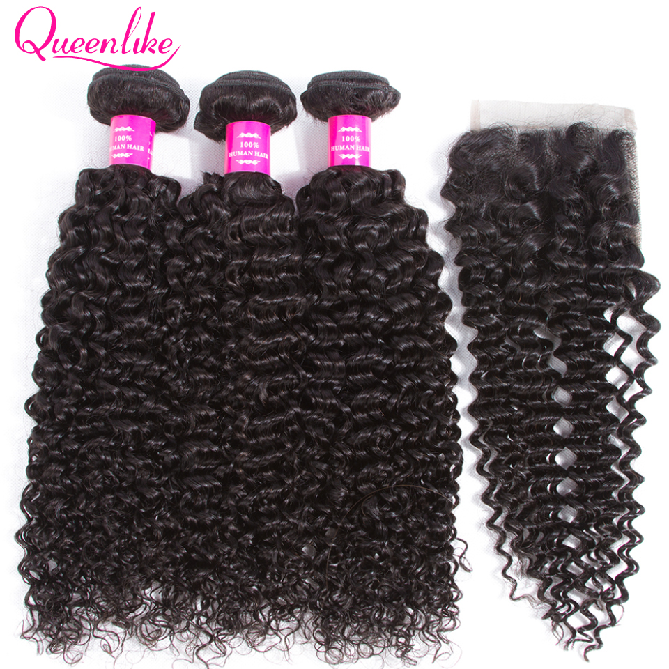 QueenLike Hair Products Malaysian Kinky Curly Hair With Closure Non Remy Hair Weave 3 4 Bundles