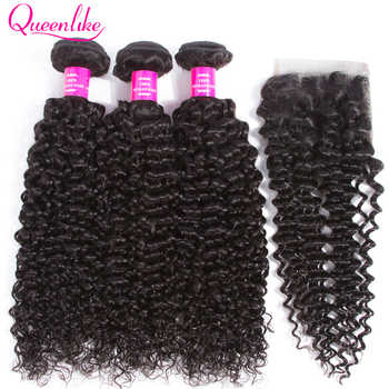 QueenLike Hair Products Malaysian Kinky Curly Hair With Closure Non Remy Hair Weave 3 4 Bundles Human Hair Bundles With Closure - DISCOUNT ITEM  44% OFF All Category