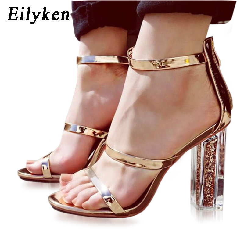 PVC Sandals Crystal Leopard Open toed High Heels Women Transparent Cover Heel Sandals Pumps 11Cm
