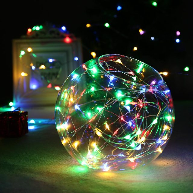 Fairy Light For Christmas Holidays 6M 60 Leds 6AA Outdoor Battery Powered  Timer LED Silver Color