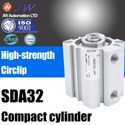 Ze stopu Aluminium ze stopu Aluminium kompaktowy cylinder powietrza SDA32 * 5 10X15*20X25 * 30X40X50X55X60X75X80X100 S B w Części pneumatyczne od Majsterkowanie na