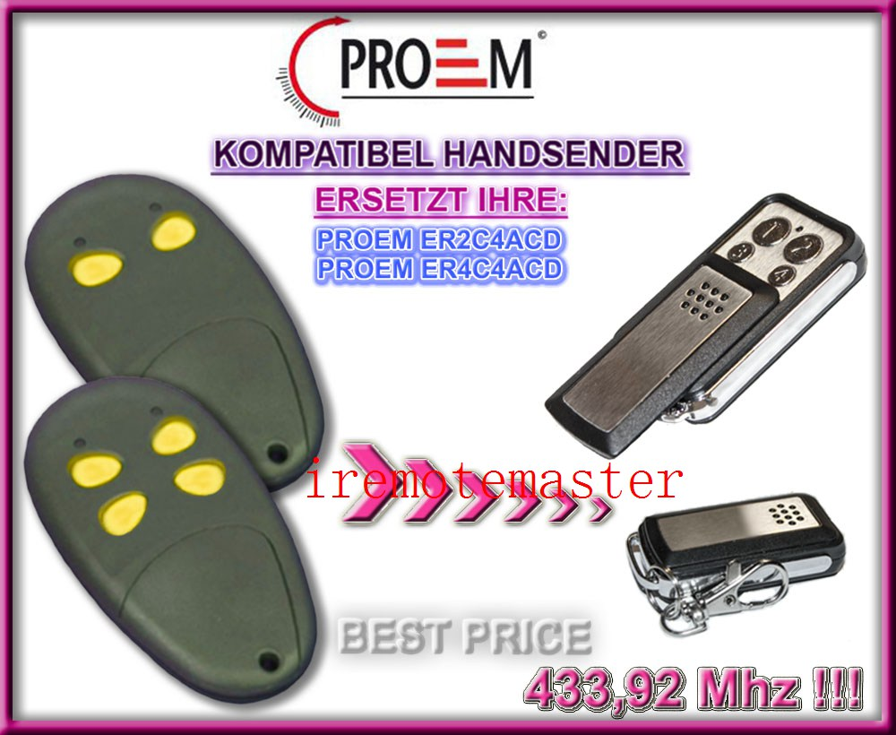PROEM ER2C4ACD,ER4C4ACD replacement remote control 433MHZ alltronik replacement remote s429 1 433mhz s429 2 433mhz s429 4 433mhz s429 mini 433mhz