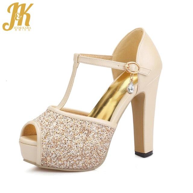 e3da6ed93bc9b JK Bling Wedding Shoes Women 2018 Sexy Peep Toe T Strap Summer Sandals  Girls High Heels Platform Glitter Shoes Female Fashion