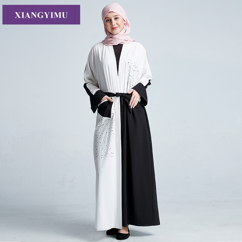 Manufacturer Spot F8871 Muslim Cardigan Gown With Diamond Abaya Gown Dubai Turkey Is Selling Like Hot Cakes
