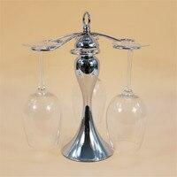6 Glasses Hanger Silver Metal Wine Glass Goblet Holder Stand Modern Home Bar Accessories Decoration