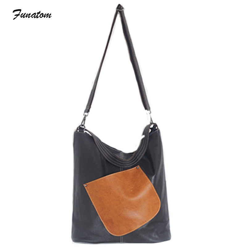 Funatom Brand Women Genuine Leather Casual Shoulder Bag Designer High Quality Messenger Bags Ladies Tassel Cow Leather Bags