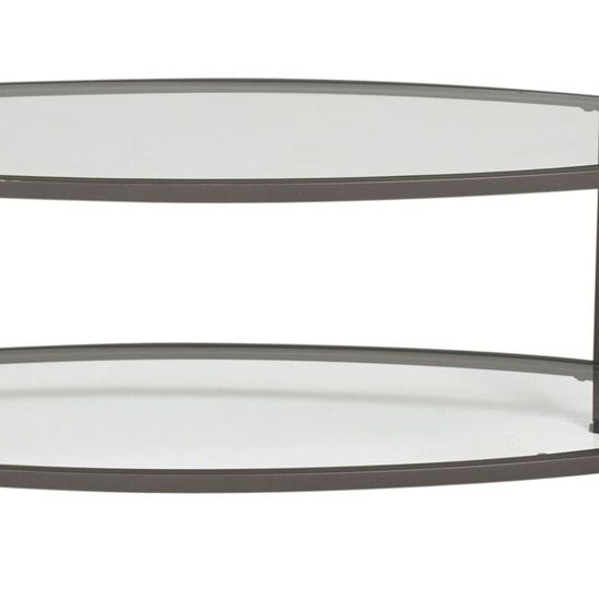 Studio Designs Camber Oval Coffee Table Pewter Clear Glass - Pewter glass coffee table