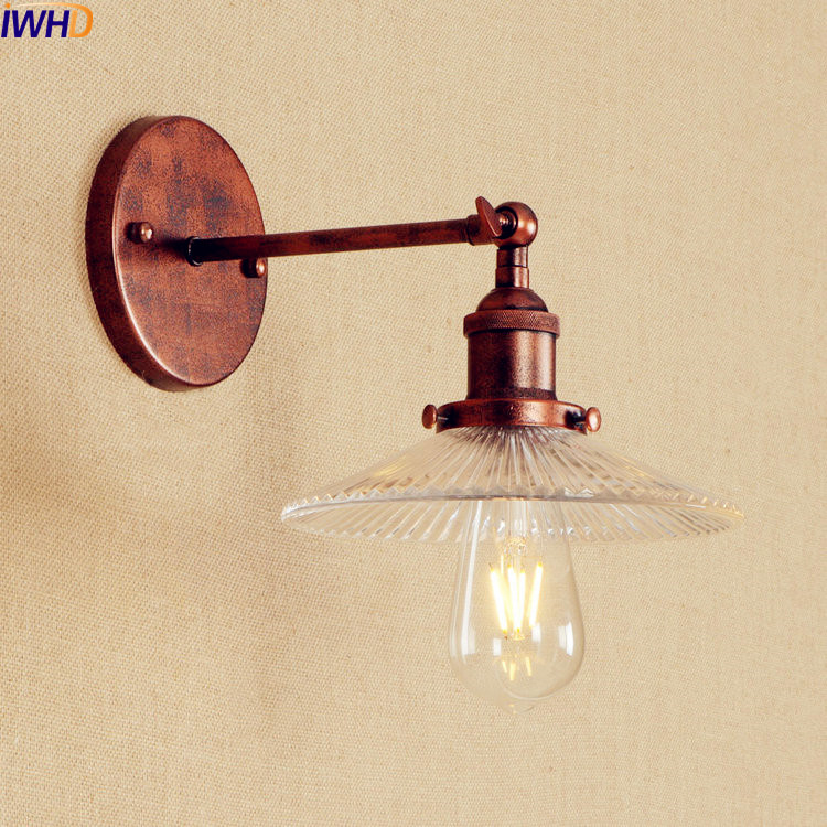 Antique Vintage LED Wall Lamp Glass Edison American Adjustable Arm Light Wall Sconce Lampara Pared LED Stair Lights Lumianire brass glass wall lights led vintage edison american home stair lighting living room adjustable arm industrial wall lamp sconce