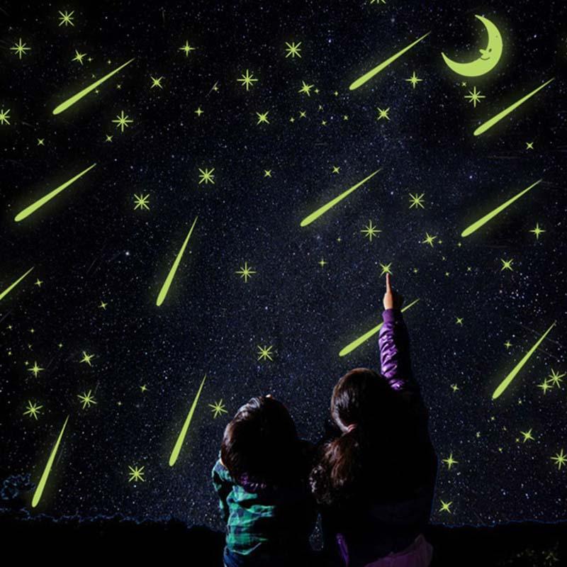 Zqspfafa Романтический Звездное небо Наклейки флуоресцентный метеорный поток Крафт-бумага Мода 2017 г. бренд DIY Съемный Home Аксессуары