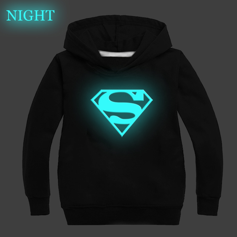 Superman Superhero Luminous Kids Hoodies Boys Girls Casual Sweatshirt Autumn Winter Long Sleeve Pullover Hooded Kids Best Gift Hoodies & Sweatshirts