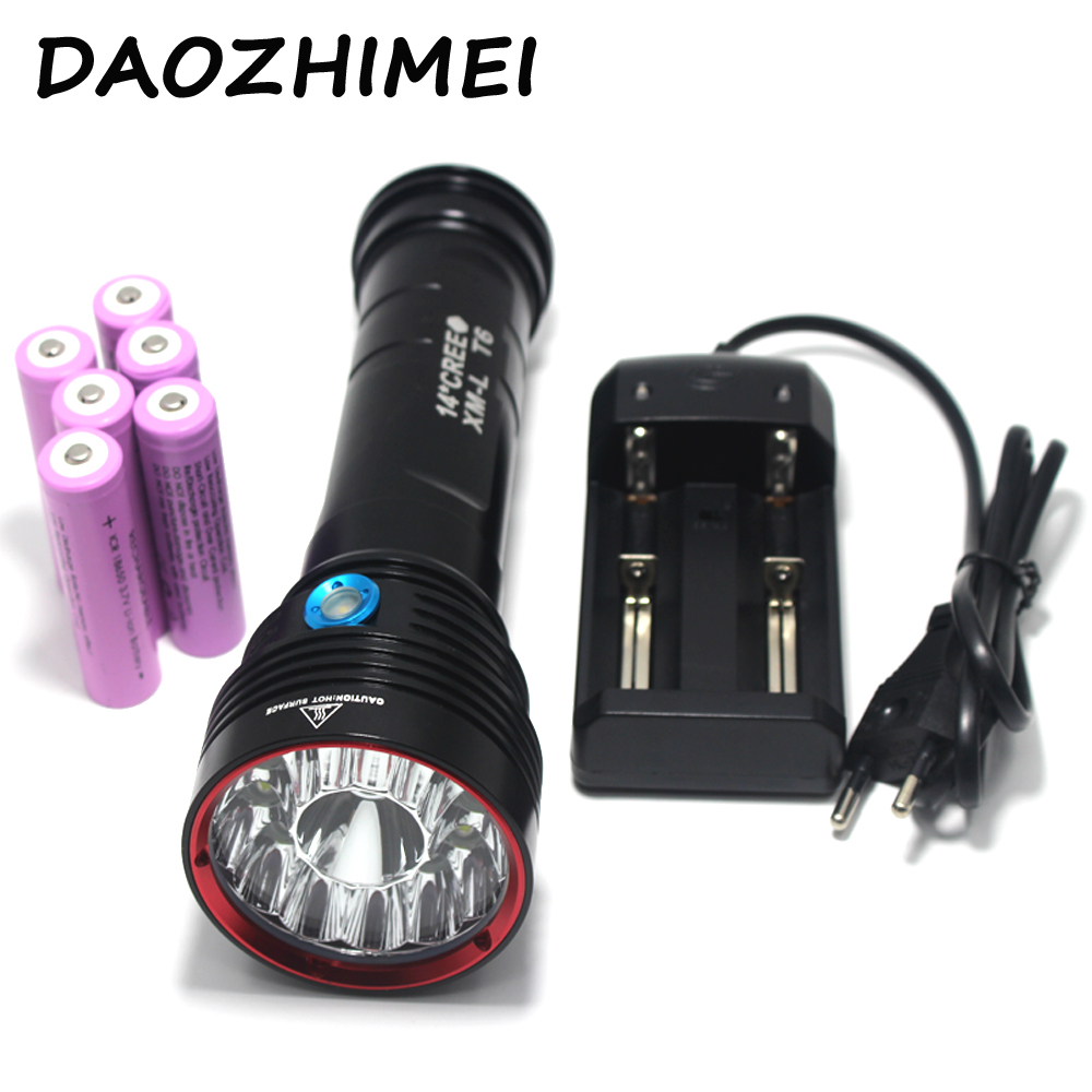 цена на 25000 Lumens SKY RAY 14xT6 14x XM-L T6 3-Mode LED Flashlight Torch Lamp big power 6X18650 Rechargeable Battery + charger