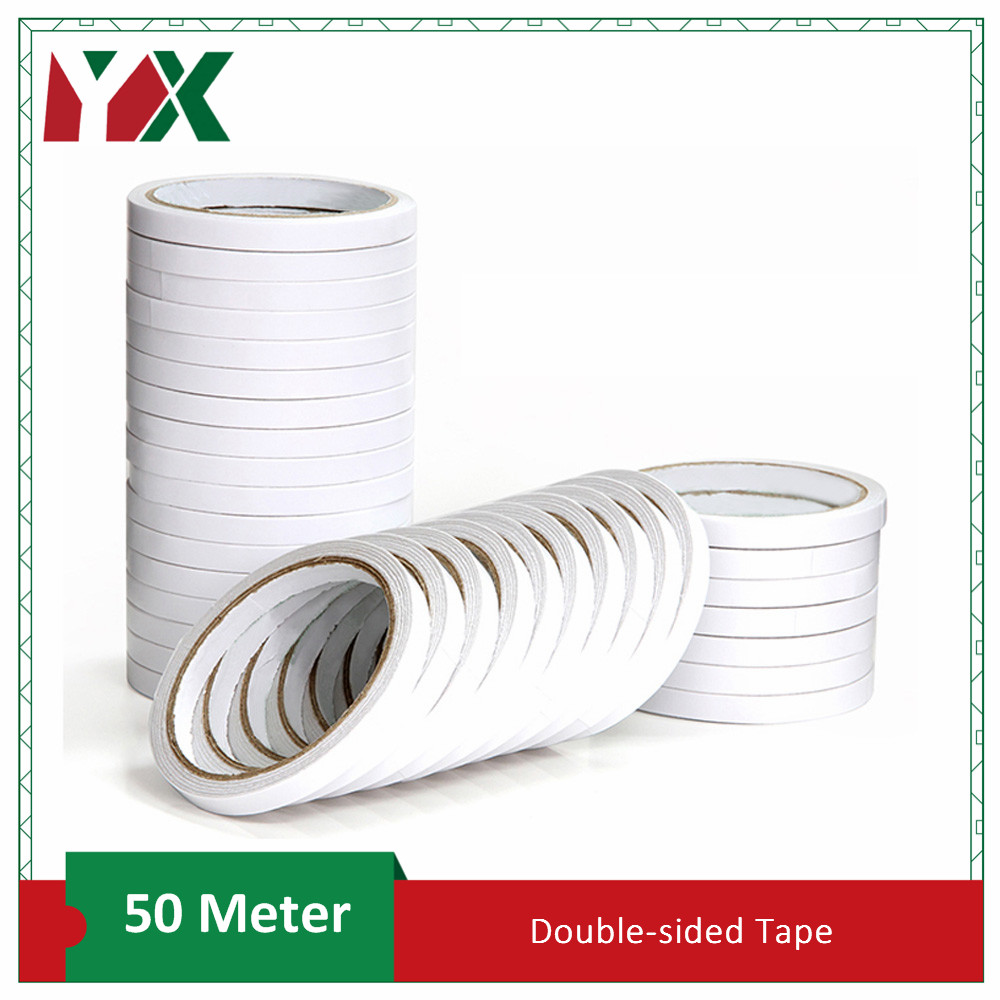 YX Double Sided Tape Super Strong Double Faced Powerful Adhesive Tape Paper Double Sided Tape For Mounting Fixing Pad Sticky 50M
