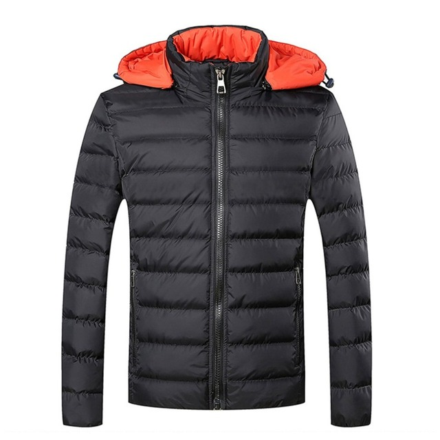 Men's Warm Hooded Parka Thick Cotton Coat Solid Color Plus Size 5XL Casual Bomber