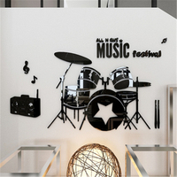 Shelf Drum 3d Stereo Acrylic Wall Stickers Children's Room Music Dance Classes Backdrops Wall Decoration Sticker Decal DIY Gift
