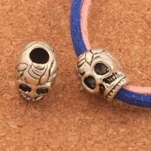 Skull Spacer Bead Big Hole Beads 12x9.5mm 45PCS Tibet Silver Fit European Bracelet L1267