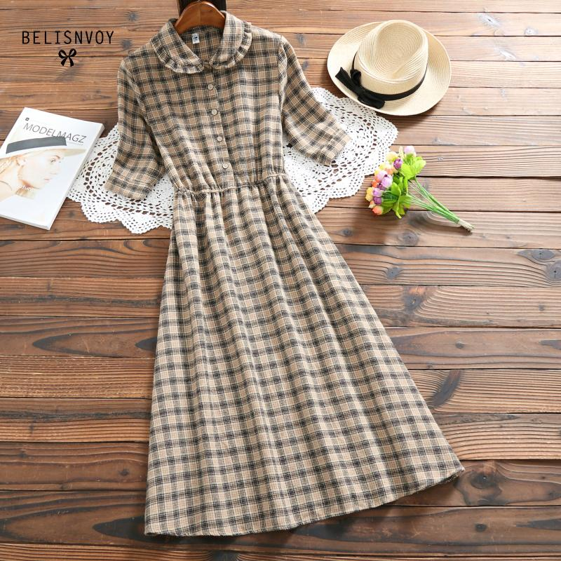Dresses Bright Mori Girl Summer Dress 2019 Fashion Women Short Sleeve Plaid Vintage Dresses Peter Pan Collar Female Cotton Linen Dress Vestidos