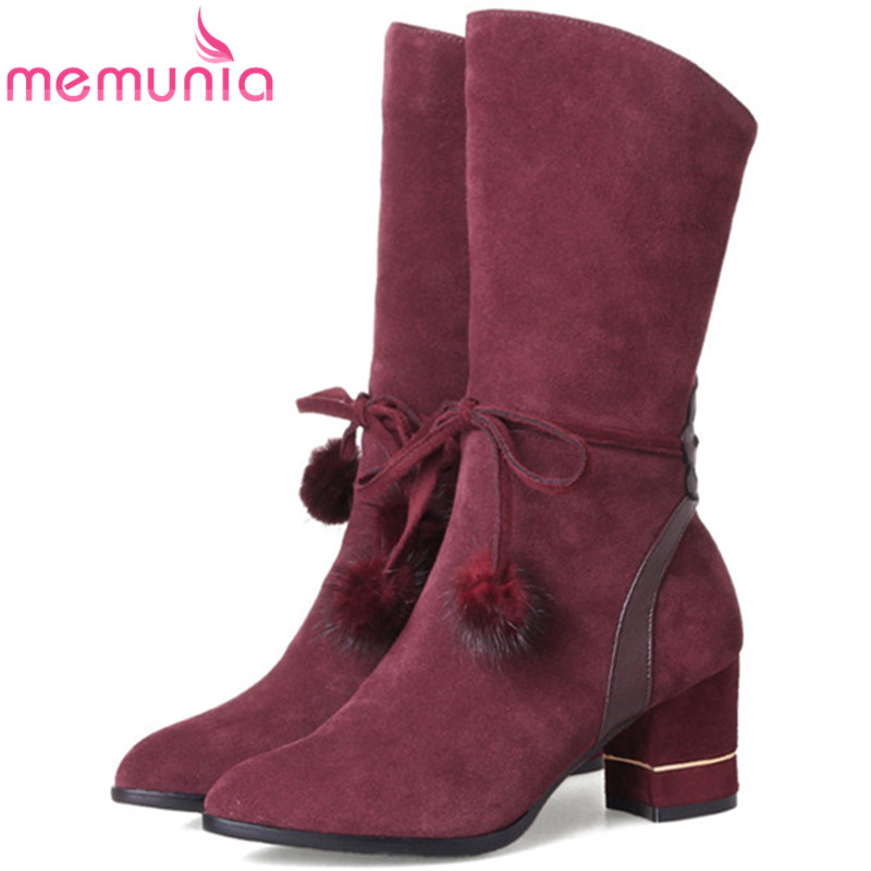 MEMUNIA Half boots female 2018 new arrive womens boots fashion shoes PU zip solid mid calf boots pointed toe big size 34-40 memunia new arrive hot sale genuine