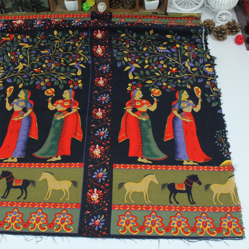 cotton linen fabric Southeast Asian India style artisanal lucky fruit tree beauty women DIY patchwork tablecloth home decoration