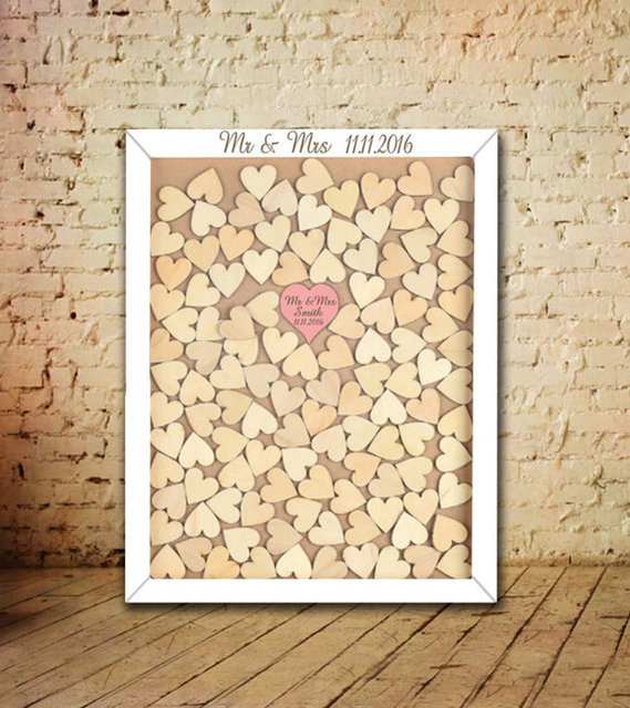 Personalized Wedding Guest Book Frame Wooden Hearts Guest Book For