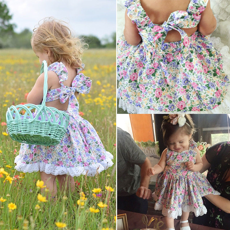 PUDCOCO Flower Princess Dress Girl Kids Baby Party Wedding Pageant Floral Summer Casual Dresses 1-5Y