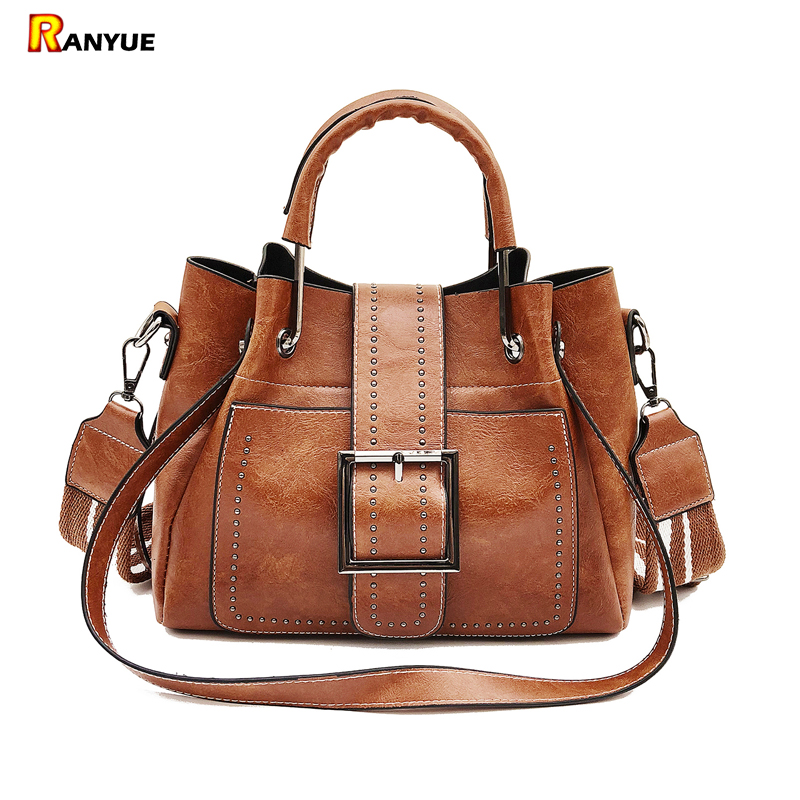 High Quality Pu Leather Women Bag Rivet Bucket Bag Women Leather Handbags Vintage Tote Top-handles Shoulder Bags For Girl Ladies women vintage bucket bag ladies casual pu leather handbags tote high quality messenger bags brands designer shoulder tassel bag