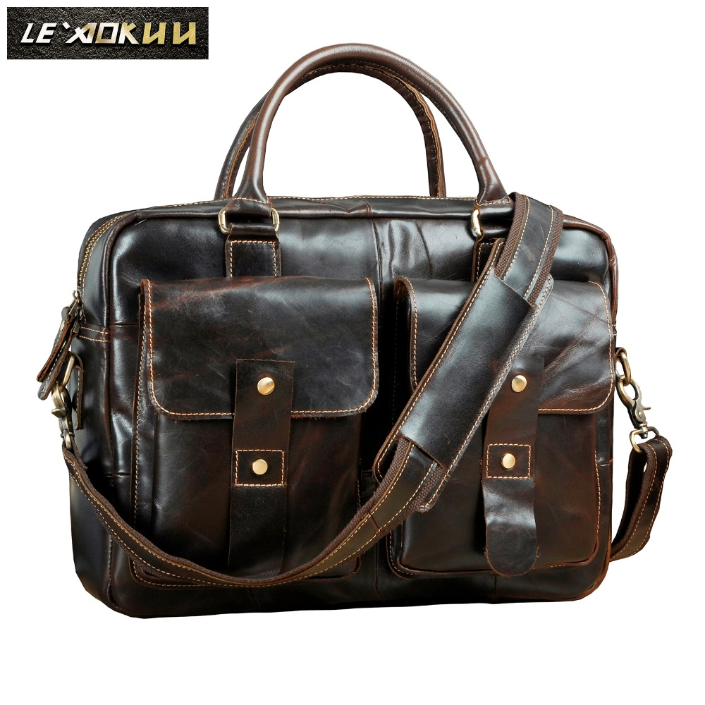 Mens Origianl Leather Design Travel Business Briefcase 14