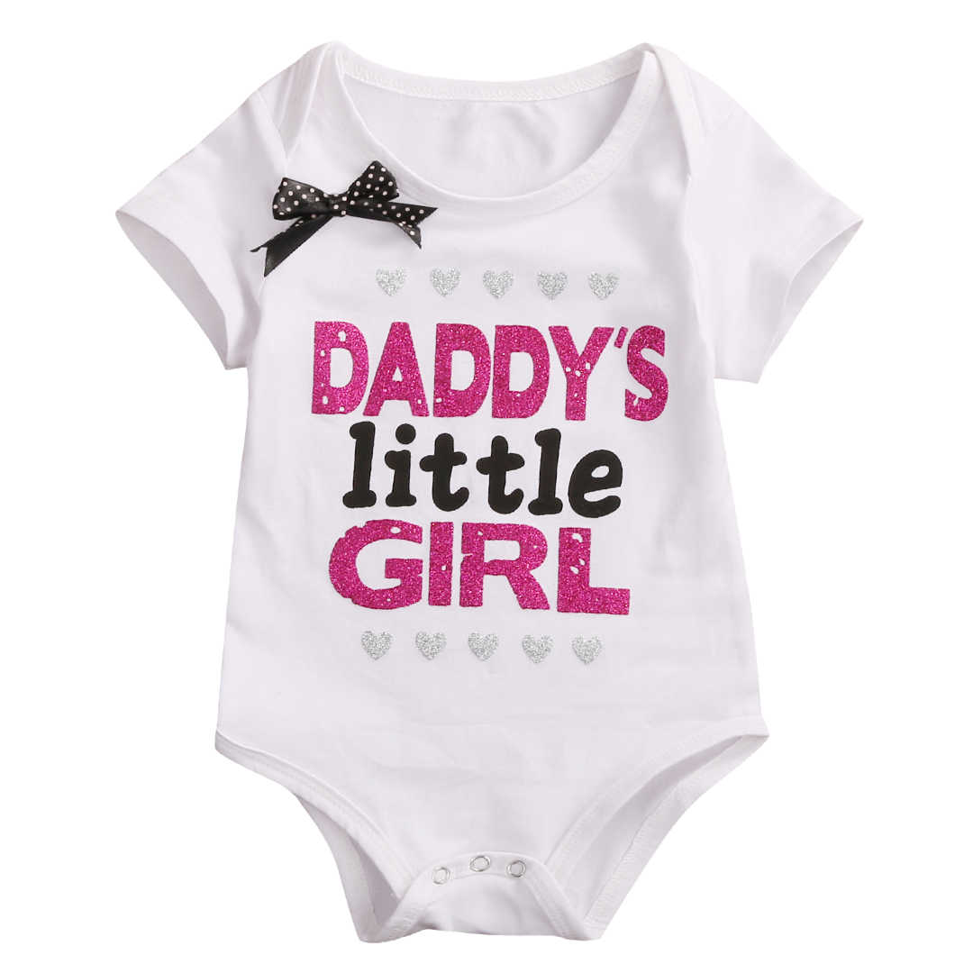 a1835da88e8ad Detail Feedback Questions about Newborn Baby Girls Clothes Summer Daddy's  Little Girl Letter Print Romper Jumpsuit Short Sleeve Baby Outfit Clothing  Black ...