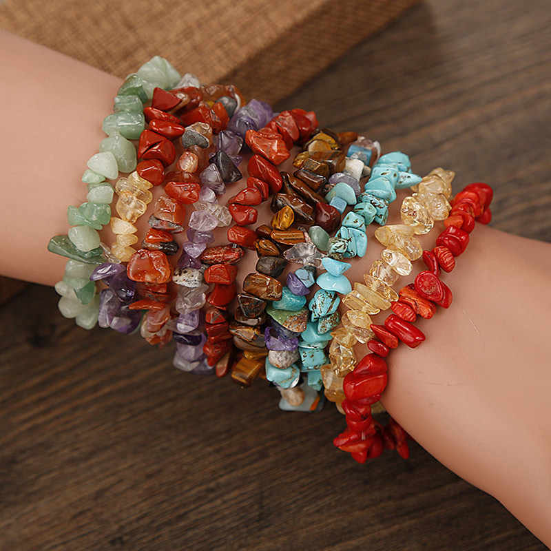 Newly Natural Stone Chip Beads Stretchy Bracelet Ethnic Style Colored Stone Bracelet dropshipping