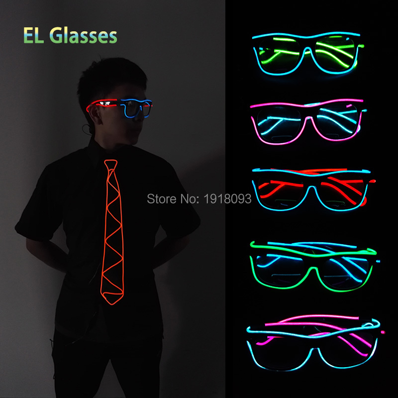 New Design Sound active Battery Driver Twin Color Blinking Flexible Novelty Lighting EL wire LED Neon Glasses For Party Supplies