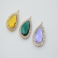 18x25mm Pear Glass Crystal Button Color Faceted Rhinestone Pendant 10 Pcs