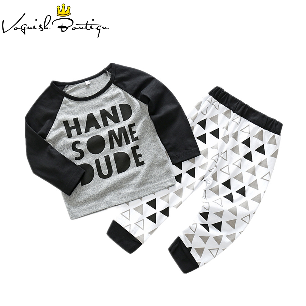 Baby boys clothes 2pcs/set letter printed handsome baby clothing set bebes clothes black and grey t-shirt and pants