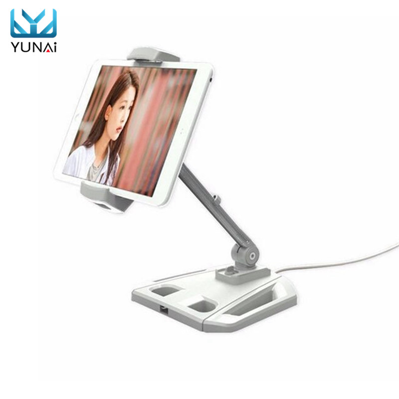 YUNAI Universal 360 Rotating Lazy Desktop Base For Tablet PC Mobile Phone Holder New tablet holder Mount Stand For iPad sx 005 360 degree rotating vehicle general magnetic phone mount holder