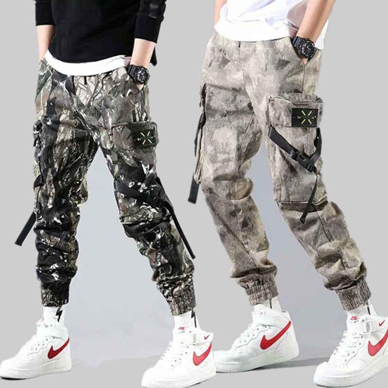 Streetwear Linten Casual Broek Mannen Zwarte Slanke Heren Joggers Broek Side-zakken Katoen Man Broek
