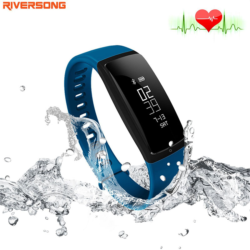 Smart Wristband Heart Rate Monitor Activity Tracker Fitness RIVERSONG WAVE BP Sleep Monitor resemble mi band 2 fitbit for ISO