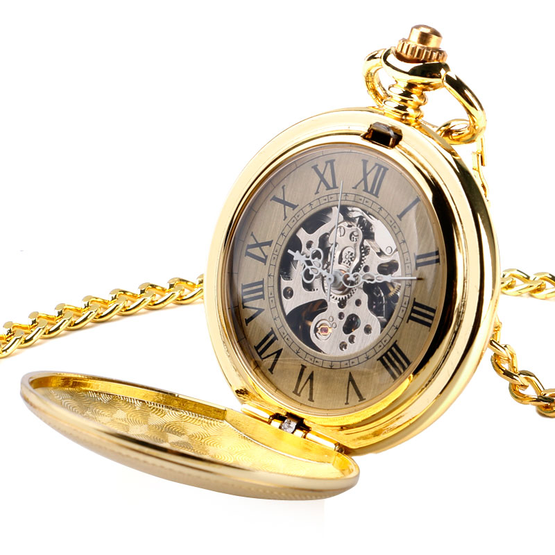 Luxury Golden Pendant Vintage Automatic Mechanical Pocket Watch Open Face Roman Numerals With Golden Chain For Men Women