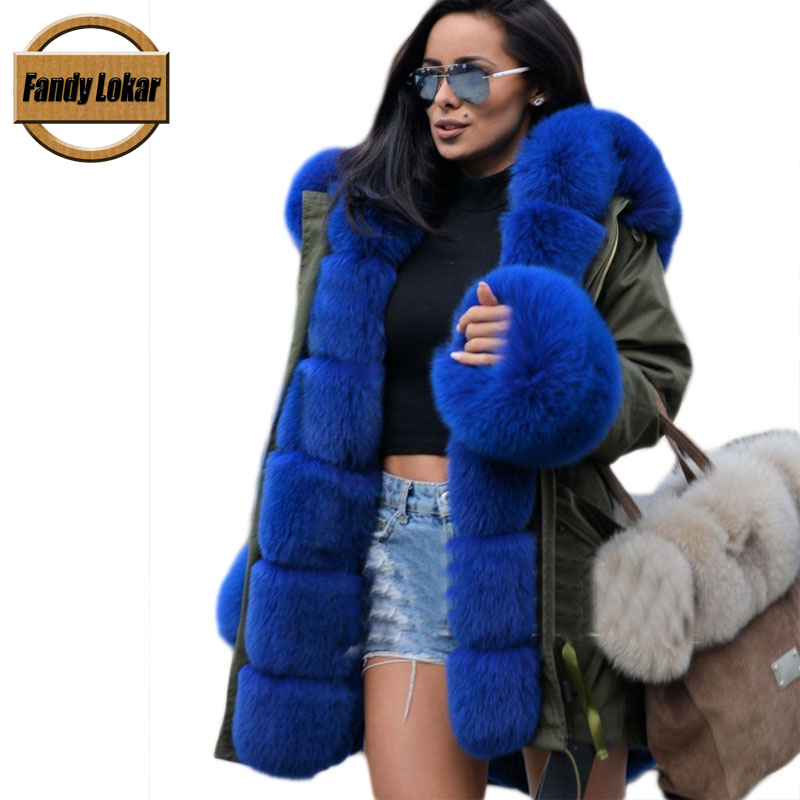 Blue Fox Fur Collar Hooded Coat Women Winter Real Rex Rabbit Fur Liner Loose Warm Jacket Women Vintage Fur Parka Female 2013 winter fashion female short doll style real rex rabbit fur collar thick cotton padded jacket loose cape cloak coat d2031