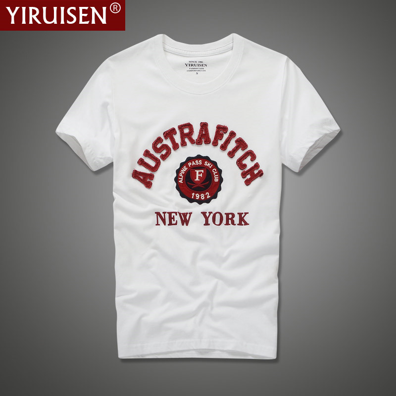 YiRuiSen markenkleidung herren t-shirt mode 2017 oansatz casual brief patch t-shirt männer sommer casual top tees