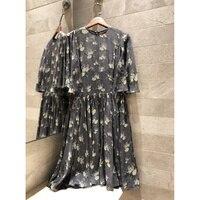 Для женщин 2019 летние шелковые Цветочный принт элегантное платье богемный Стиль Короткие вечерние пляжное платье шелковая подкладка из 2 пр