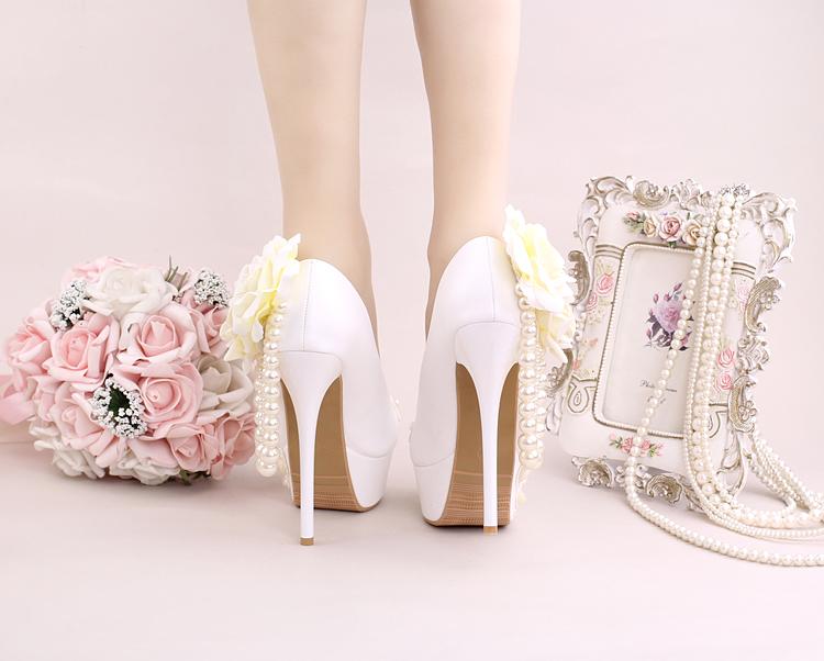 10_Women Dress Shoes For Wedding White Pearl Lace Flowers Bridal High Heel Platform Pumps 10cm 12cm 14cm Stilettos Footwear Online