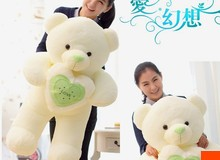 The lovely hug bear doll teddy bear with love heart plush toy doll birthday gift green about 120cm