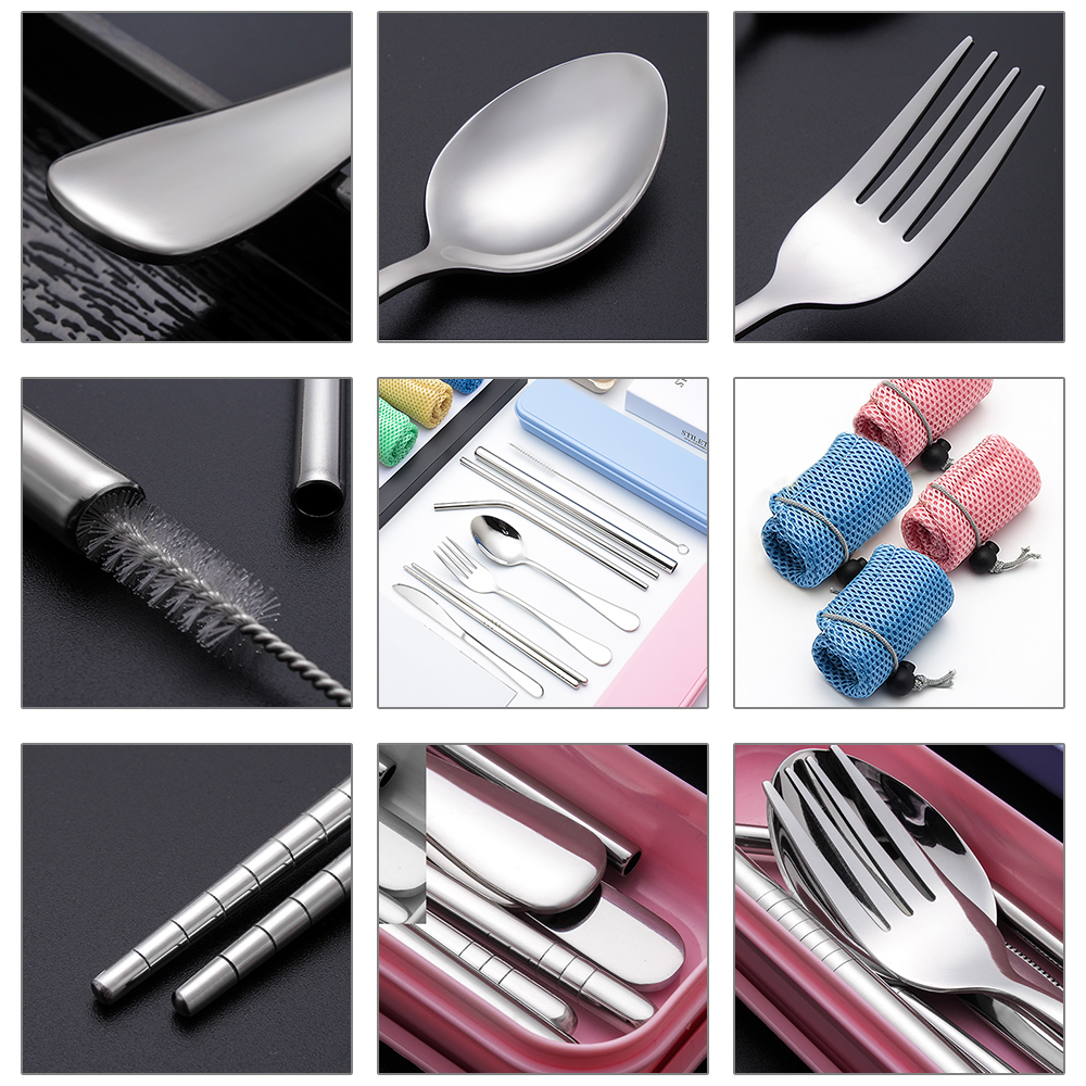 Image 4 - 8pcs Stainless Steel Cutlery Set Silverware with Metal Straw Chopsticks Storage Case and Bag cubiertos de acero inoxidable-in Dinnerware Sets from Home & Garden