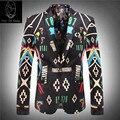 2017 terno novo produto alta qualtiy preço combinação jaqueta de veludo dos homens de moda de luxo flor de impressão blazer tamanho M-3XL