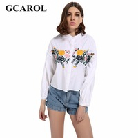 GCAROL 2017 Floral Embroidery Blouse Standard Collar Lantern Sleeve Joker Shirt High Quality Oversize Cropped Top
