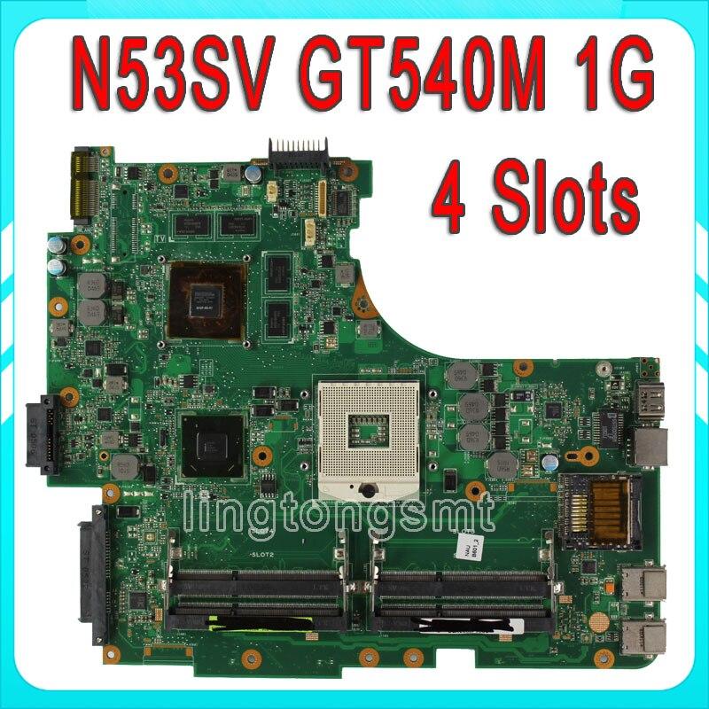 Original for ASUS N53SV Motherboard N53S N53SN N53SM With 4 RAM SLOTS GT540M 1GB Fully Tested
