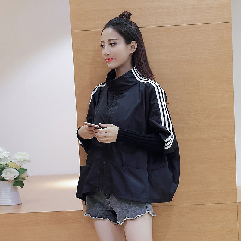 New Bomber   Jackets   Women New Women's   Basic     Jacket   Batwing Sleeve Fashion Windbreaker High Quality Outwear Female Coat