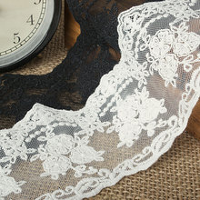 8 cm high quality white gauze bilateral both embroidery Lace DIY costume design materials