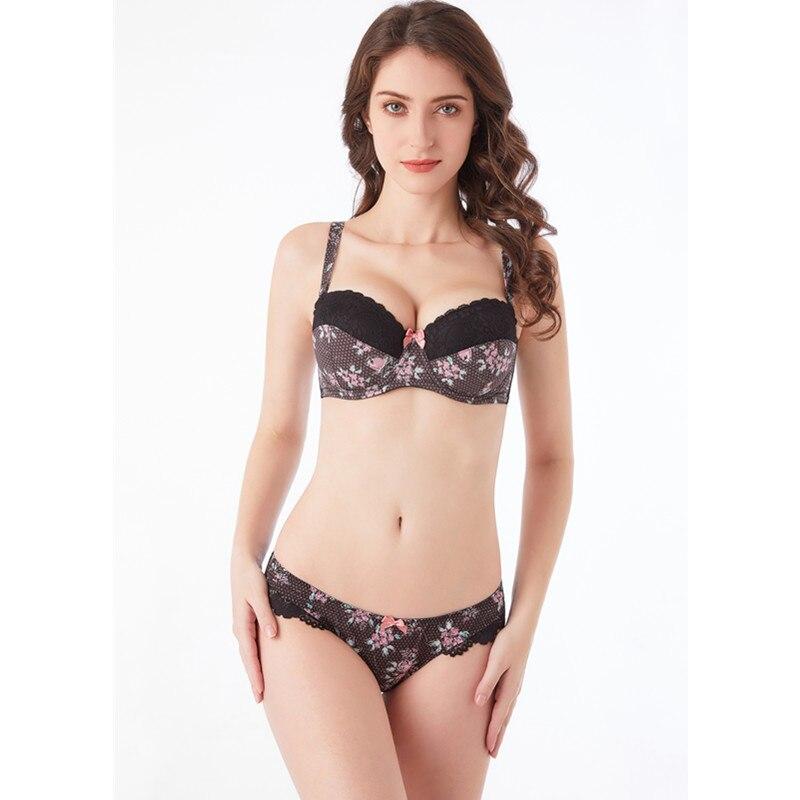 Image 2 - MiaoErSiDai Push Up Women Bra Set Adjusted  & Convertible Straps Bra Printing Lace Bralette and Brief   30 40   C/D/DD/DDD/E/F/G-in Bra & Brief Sets from Underwear & Sleepwears